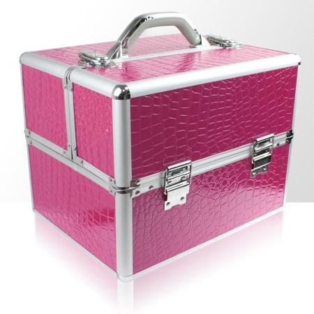 Kozmetický kufrík 303 ružový krokodíl