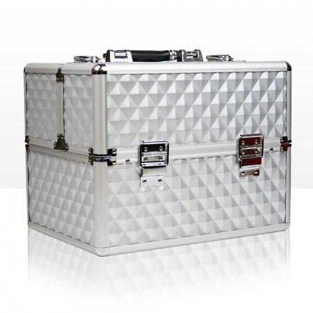 Kozmetický kufrík 503 - 3D strieborný