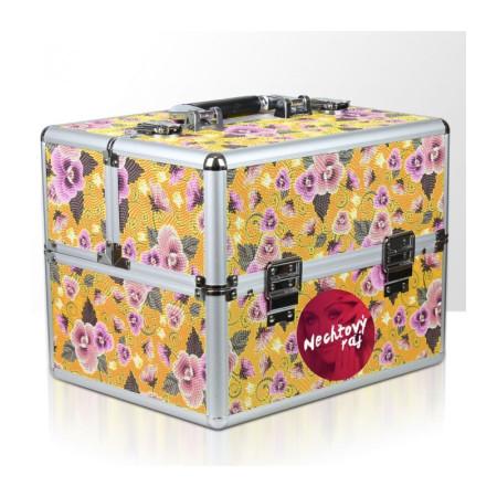 Kozmetický kufrík žltý s kvietkami