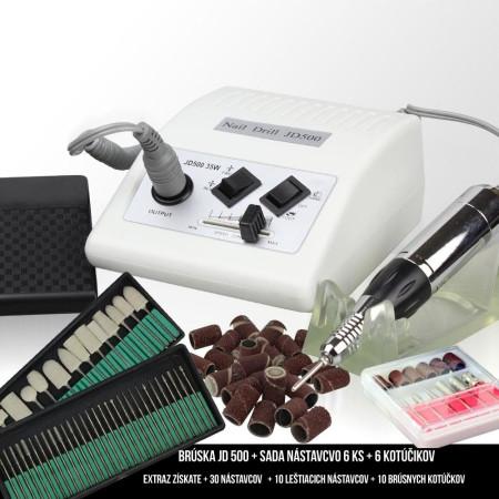 Elektrická brúska na nechty JD 500 biela + príslušenstvo