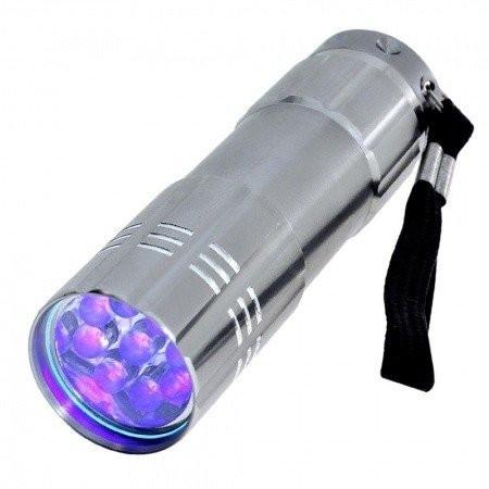 Mini UV LED baterka strieborná