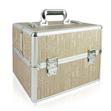 Kozmetický kufrík  - medený s kvietkami N07