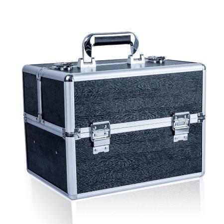 Kozmetický kufrík vzor drevo čierny