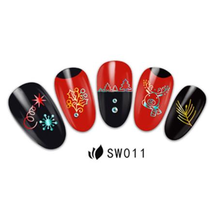 3D nálepky na nechty- vianočný motív SW011