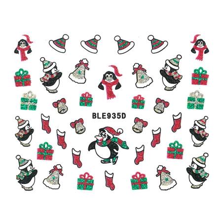 Vianočná glitrová nálepka na nechty 935