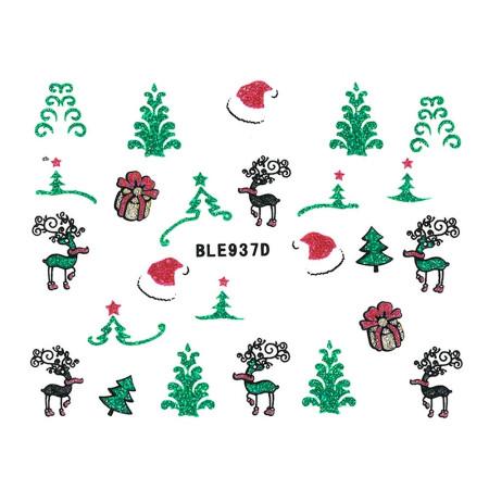 Vianočná glitrová nálepka na nechty 937