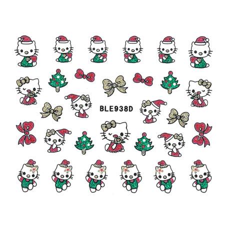 Vianočná glitrová nálepka na nechty 938