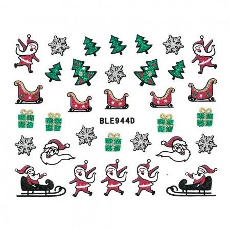 Vianočná glitrová nálepka na nechty 944
