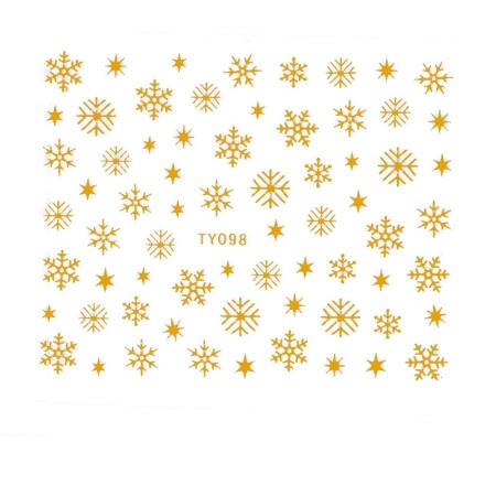 Vianočná glitrová nálepka vločky zlaté na nechty 098