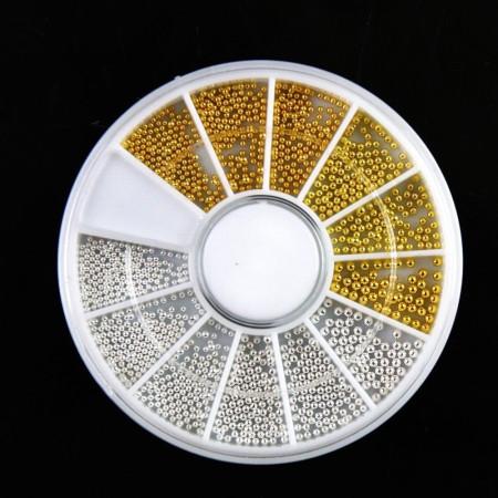Sada strieborných a zlatých perličiek 1200 ks - rôzne veľkosti- nechtovyraj.sk