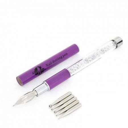 Stylograf + pero na zdobenie fialové zdobené zirkónami