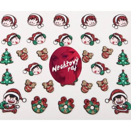 Vianočná glitrová nálepka