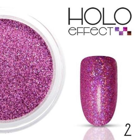 Allepaznokcie prášok na nechty HOLO efekt 02 ružový 3g