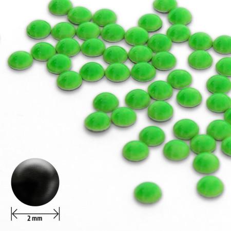 Ozdoby okrúhle vypuklé 2mm- neon zelené