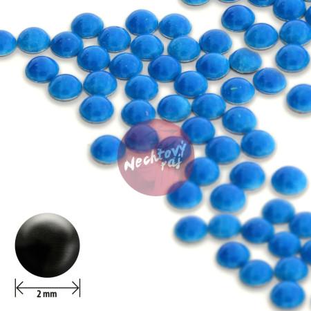 Ozdoby okrúhle vypuklé 2mm - neon modré
