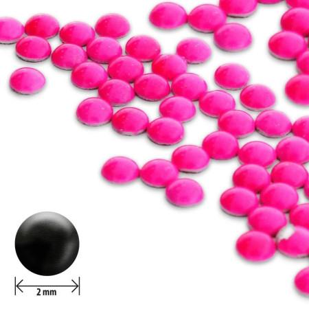 Ozdoby okrúhle vypuklé 2 mm- neon ružové