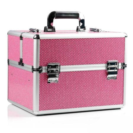 Kozmetický kufrík - ružový so zirkónovými kamienkami - NechtovyRAJ.sk