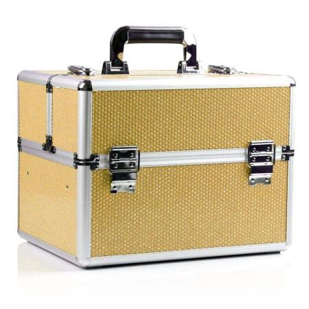 Kozmetický kufrík - zlatý so zirkónovými kamienkami NechtovyRAJ.sk - Daj svojim nechtom všetko, čo potrebujú