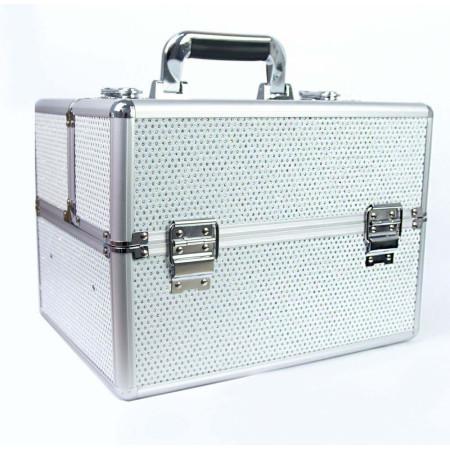 Kozmetický kufrík - biely so zirkónovými kamienkami - NechtovyRAJ.sk