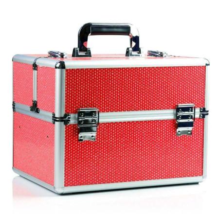 Kozmetický kufrík - červený so zirkónovými kamienkami NechtovyRAJ.sk - Daj svojim nechtom všetko, čo potrebujú