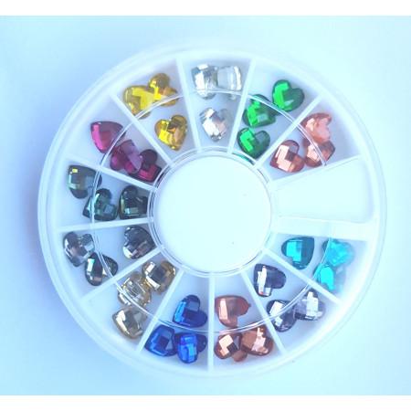 Farebné 3D ozdoby na nechty farebné srdcia - NechtovyRAJ.sk