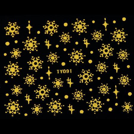 Vianočná glitrová nálepka vločky zlaté na nechty 091