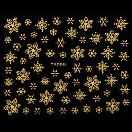 Vianočná glitrová nálepka vločky zlaté na nechty 099