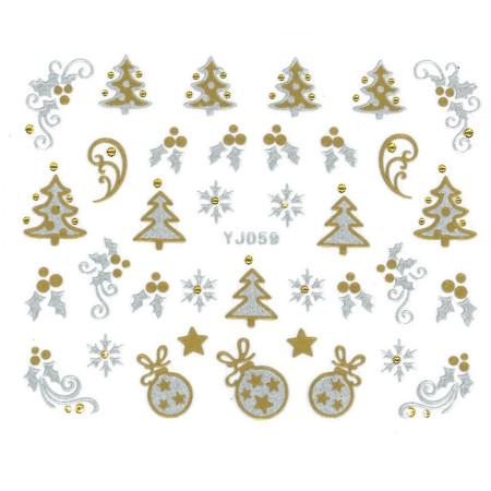 Vianočná strieborno zlatá nálepka na nechty YJ059