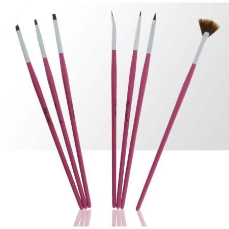 Sada štetcov pre nail art ružová 7 ks