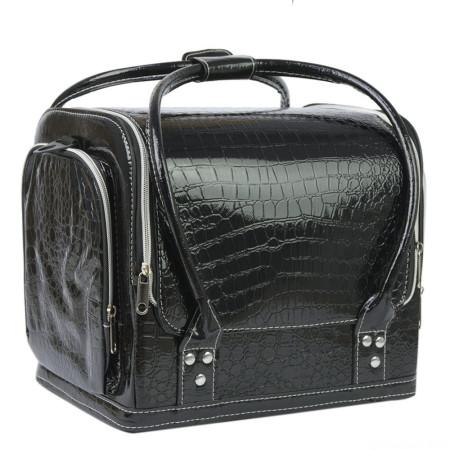 Luxusný kozmetický kufrík - čierny krokodíl 07
