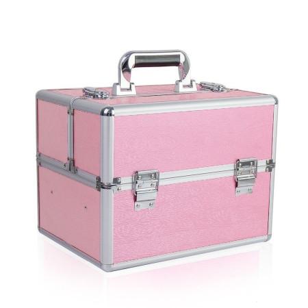 Kozmetický kufrík vzor drevo - ružový N01 NechtovyRAJ.sk - Daj svojim nechtom všetko, čo potrebujú