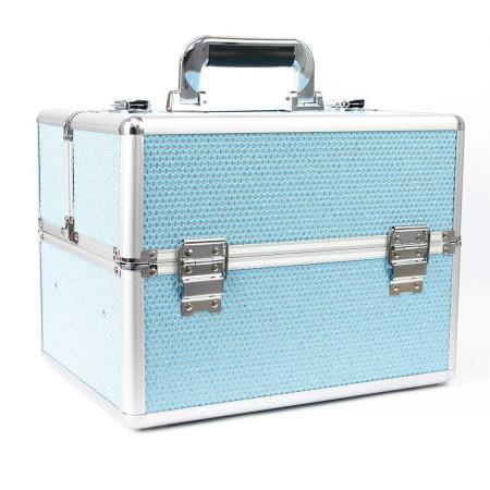 Kozmetický kufrík - modrý so zirkónovými kamienkami NechtovyRAJ.sk - Daj svojim nechtom všetko, čo potrebujú