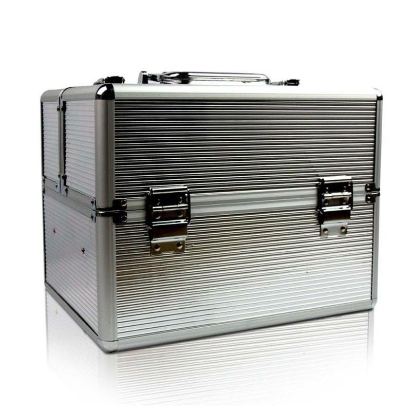 Kozmetický kufrík strieborné pásy NechtovyRAJ.sk - Daj svojim nechtom všetko, čo potrebujú