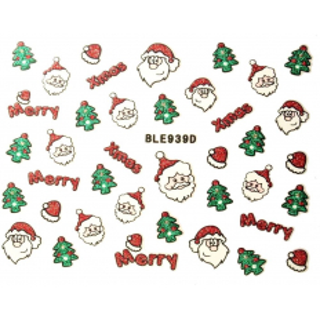 Vianočná glitrová nálepka na nechty 939d