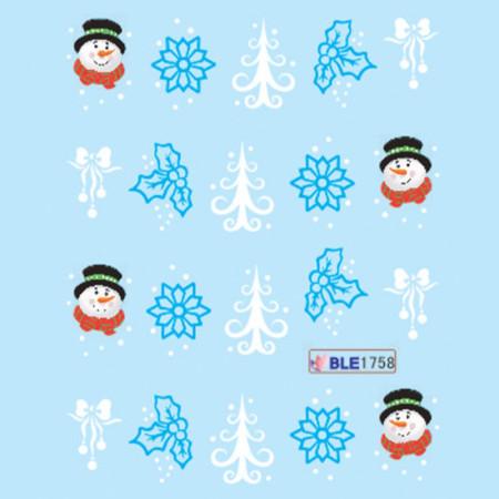 Vianočné vodolepky snehuliak a vločky-ble1758