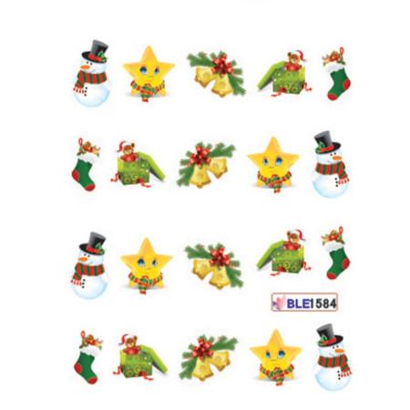 Vianočné vodolepky snehuliak a zvončeky ble1584 NechtovyRAJ.sk - Daj svojim nechtom všetko, čo potrebujú