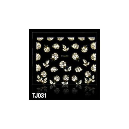3D nálepky na nechty biele ruže so zlatým lemovaním NechtovyRAJ.sk - Daj svojim nechtom všetko, čo potrebujú