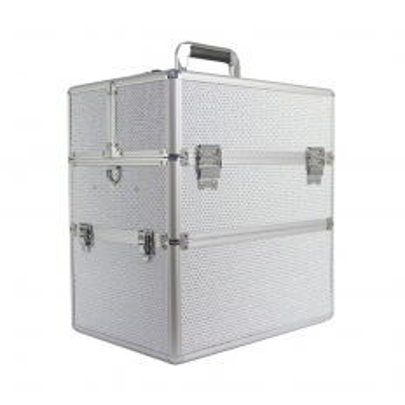 Dvojdielny kozmetický kufrík - biely zdobený kamienkami NechtovyRAJ.sk - Daj svojim nechtom všetko, čo potrebujú