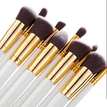 Sada štetcov na make-up 10 ks bielo zlatá NechtovyRAJ.sk - Daj svojim nechtom všetko, čo potrebujú