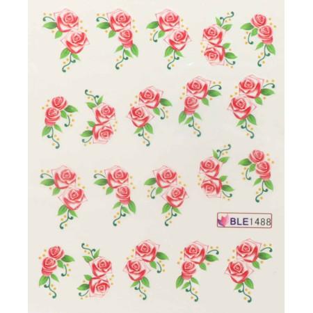Vodolepky na nechty červené ružičky 1488 NechtovyRAJ.sk - Daj svojim nechtom všetko, čo potrebujú