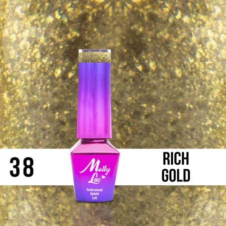 38. MOLLY LAC gél lak - Rich Gold 5ML NechtovyRAJ.sk - Daj svojim nechtom všetko, čo potrebujú