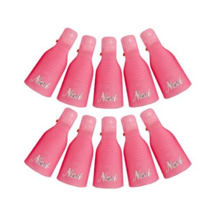 Ružové klipsy na odstránenie gél lakov 10ks