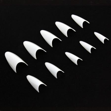 Biele tipy 300 ks - stileto bez zarážky