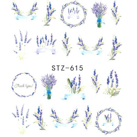 Vodonálepky na nechty motív kvety STZ-615