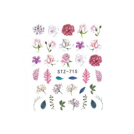 Vodonálepky na nechty motív kvety STZ-715