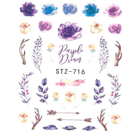 Vodonálepky na nechty motív kvety STZ-716