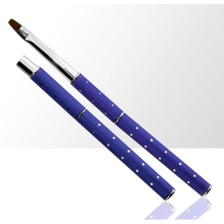 NechtovyRAJ štetec na gél č.4 modrý s kamienkami - skladací NechtovyRAJ.sk - Daj svojim nechtom všetko, čo potrebujú