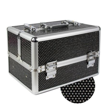 Kozmetický kufrík malý čierny so zirkónmi NechtovyRAJ.sk - Daj svojim nechtom všetko, čo potrebujú
