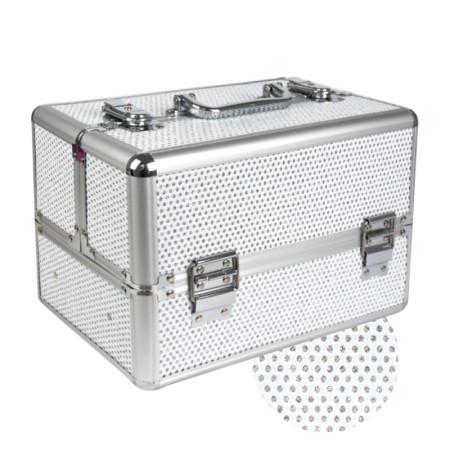 Kozmetický kufrík malý strieborný so zirkónmi NechtovyRAJ.sk - Daj svojim nechtom všetko, čo potrebujú