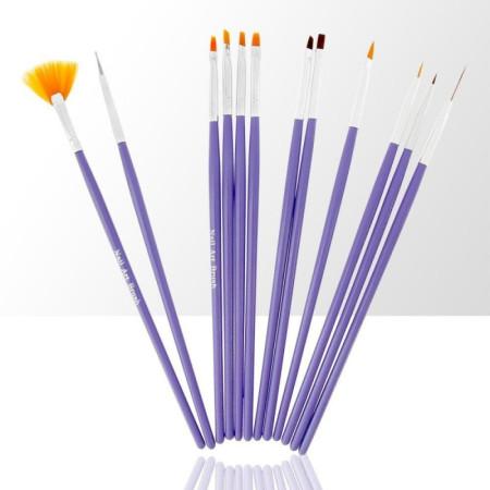 Sada štetcov pre nail art fialová 12 ks